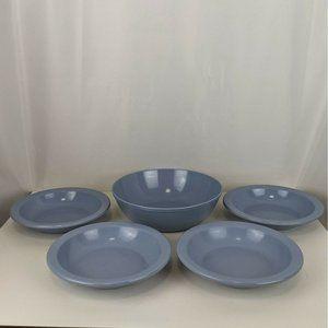 4 Vtg Dallas Ware Cereal Soup Bowls Melamine Blue